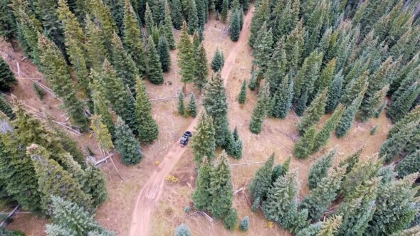 Aerial of Jeep Wrangler Off Roading Through Forest