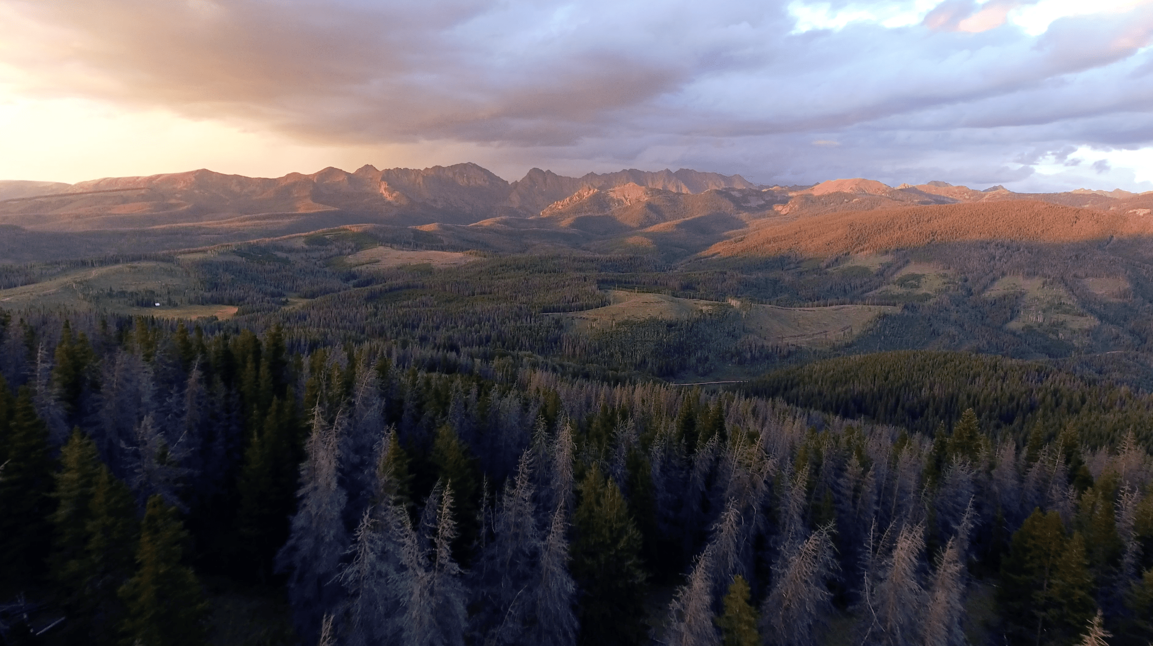 Sunset Drone Flight Over Colorado Rocky Mountains