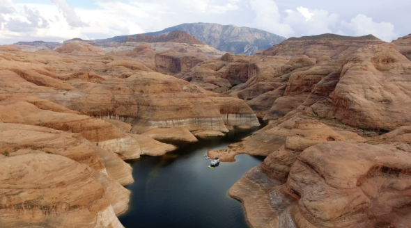 Drone Over Lake Powell Canyons