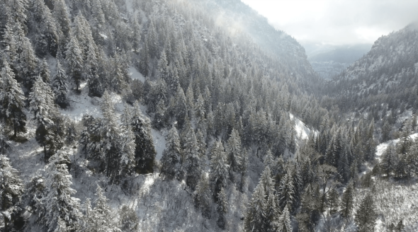 Drone Flying Through Snow Covered Mountains
